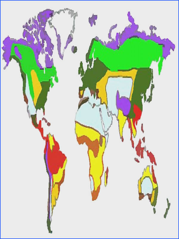 The following map features the five major biomes and their most important sub categories