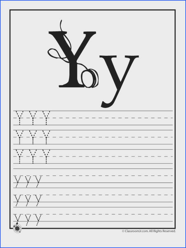 """THE LETTER """"Y"""" Learning ABC s Worksheets Learn Letter Y – Classroom"""