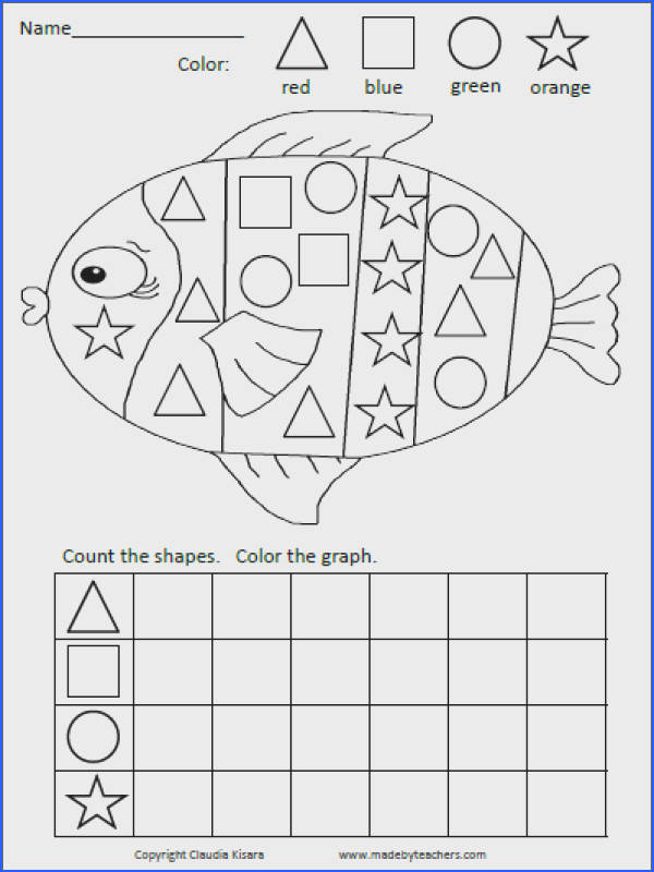 The original shapes graph fish Color the shapes count and plete the graph