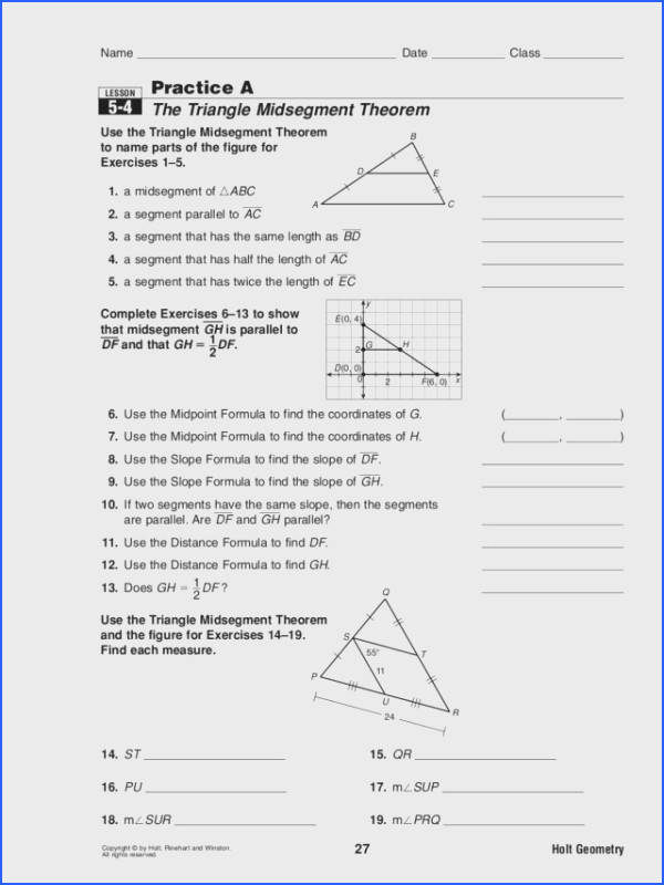 The Triangle Midsegment Theorem Worksheet for 10th Grade