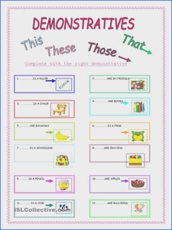 There are activities to plete with This These That Those pages ESL worksheets