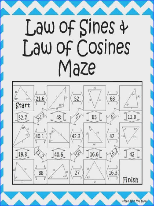 This self checking maze has 11 problems involving the law of sines and the law