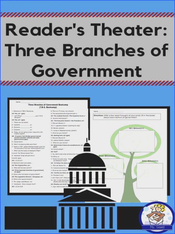 This whole class style reader s theater focuses on the three branches of government legislative