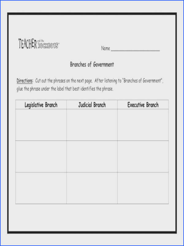 Worksheet Th Worksheet The Branches Government