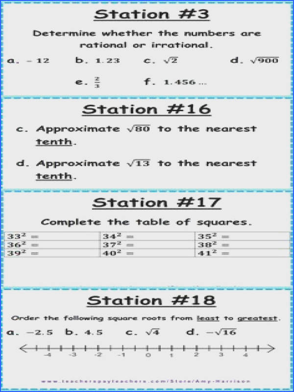CCSS 8 NS A 1 & 8 NS A 2 Irrational and Rational Numbers Stations Square Root