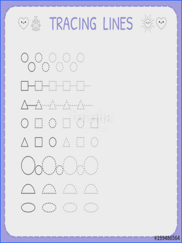 Tracing lines Worksheet for kids Working pages for children Trace the pattern