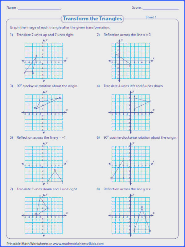 Transformation worksheets have a huge collection of practice problems based on reflection translation and rotation