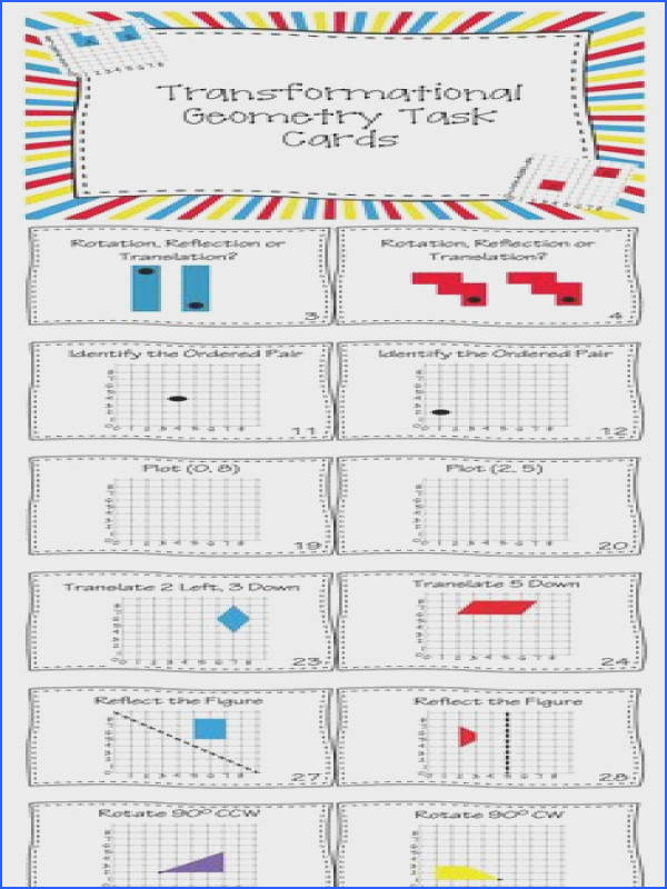 Use this set of 40 Task Cards to help your students review Translations Rotations and