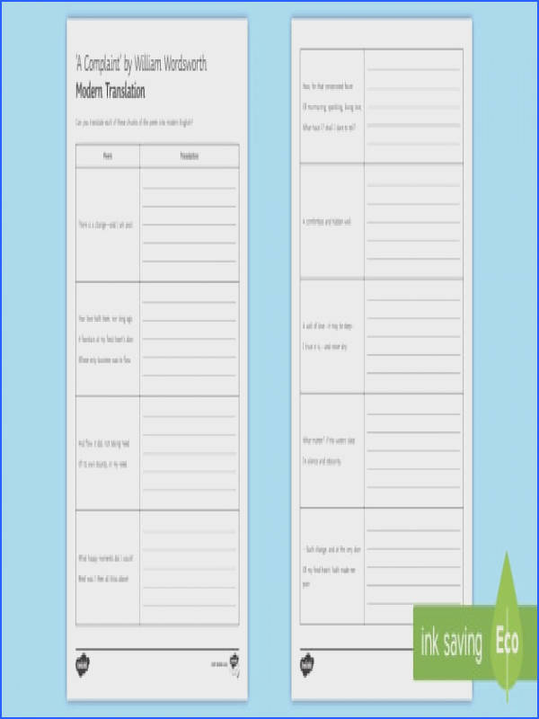 Translation Worksheet Activity Sheet to Support Teaching on A plaint by