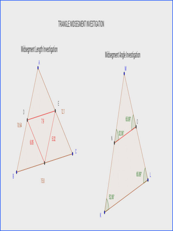 """Step 1 Using the triangle underneath """"Midsegment Length Investigation"""" pare the measurements of the midsegments red with the corresponding bases"""