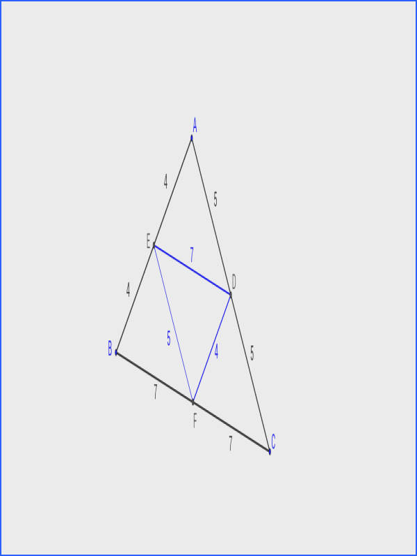 Drag vertex C around ï ¿1 What do you notice about the length of line segment ED pared to line segment BC Drag vertex A around