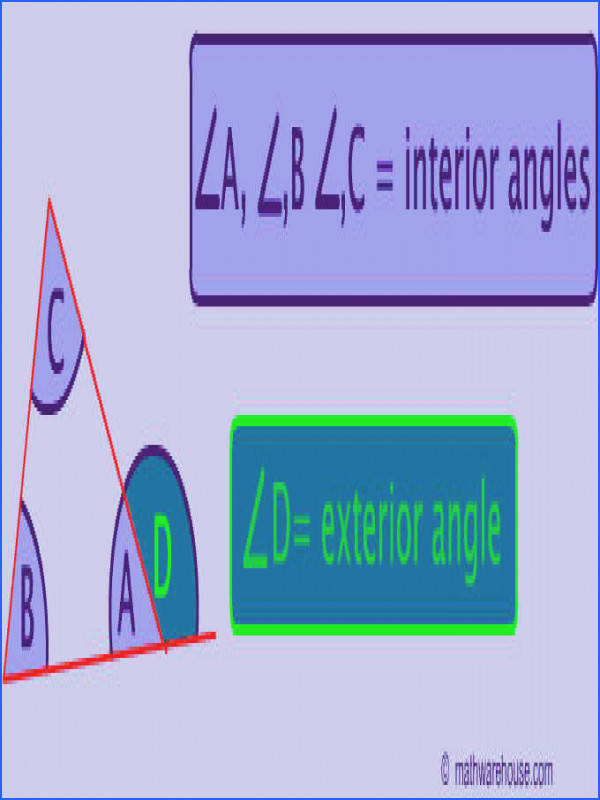 Picture of interior and exterior angles of a triangle