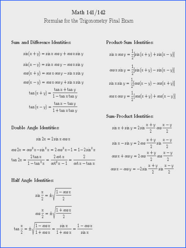 trigonometric identities click here to see the list