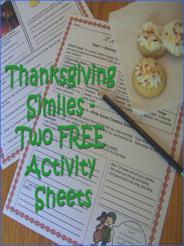 Two pages of simile activities with a Thanksgiving theme to practice identifying explaining and