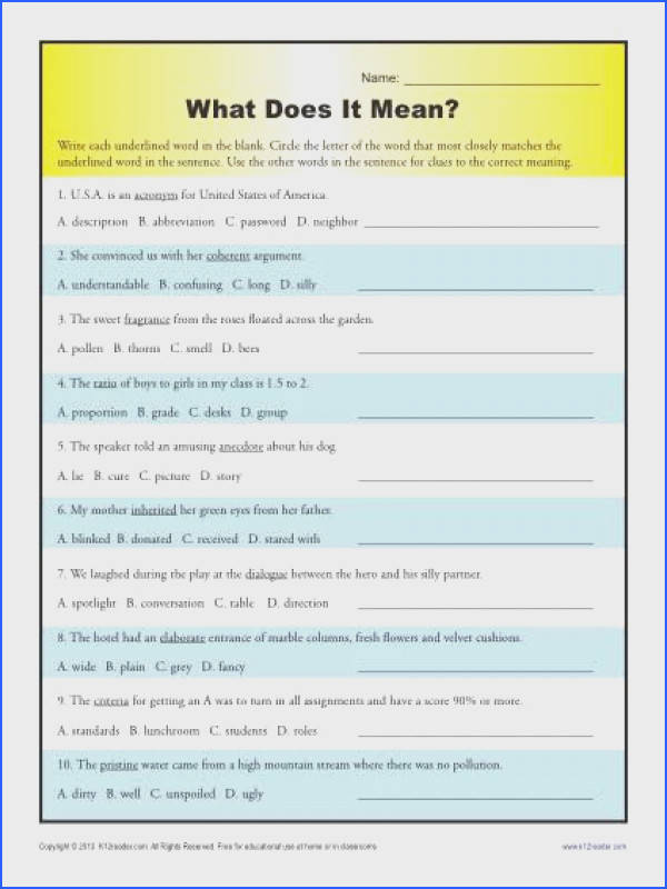 Middle School Context Clues Worksheet What Does it Mean