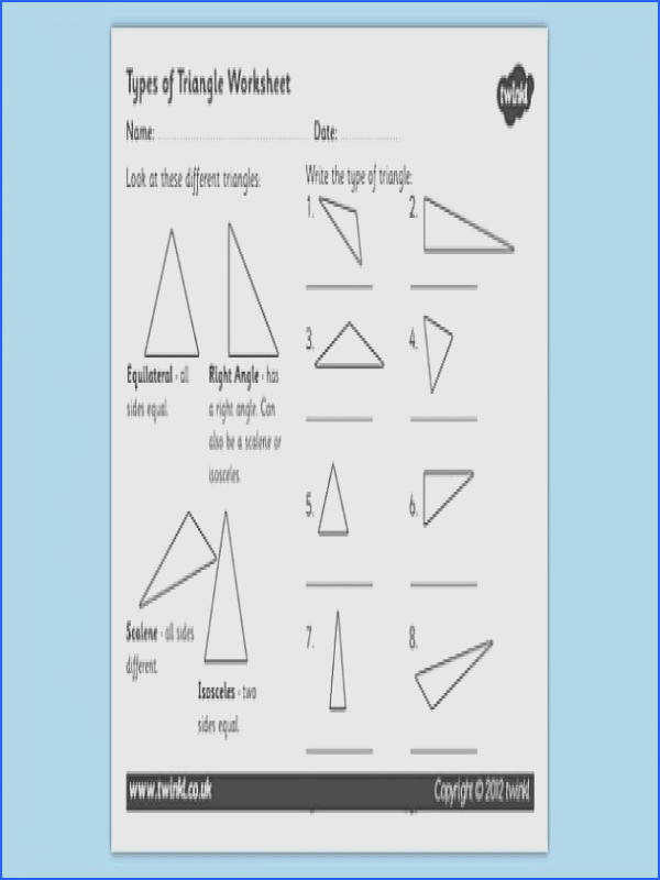 types of triangle worksheet triangles shapes types of triangles triangle worksheet