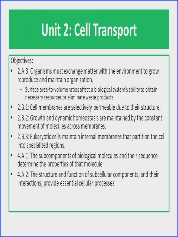 Unit 2 Cell Transport Objectives 2 A 3 Organisms must exchange