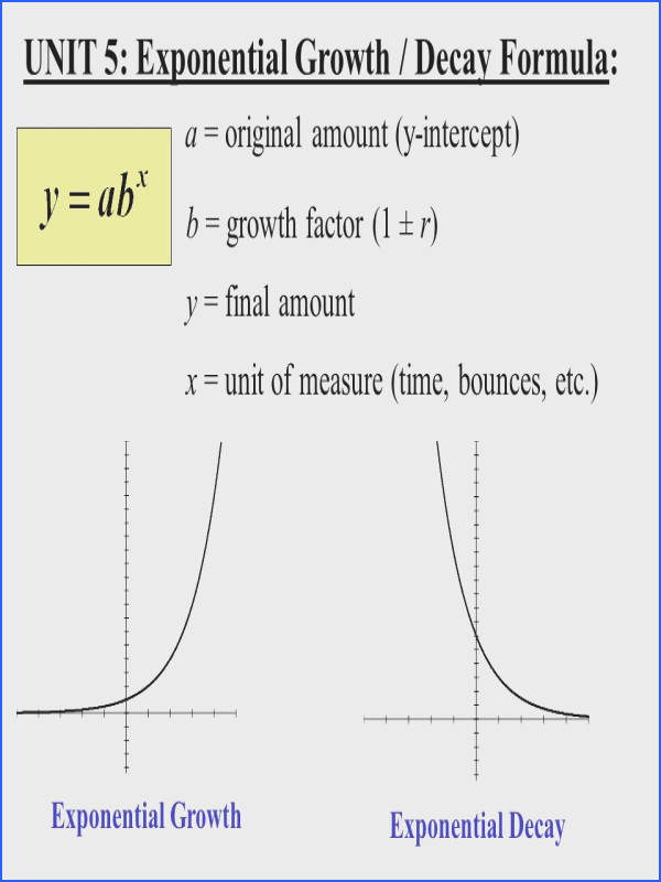 UNIT 5 Exponential Growth Decay Formula