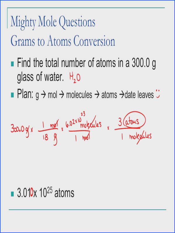 Mighty Mole Questions Grams to Atoms Conversion