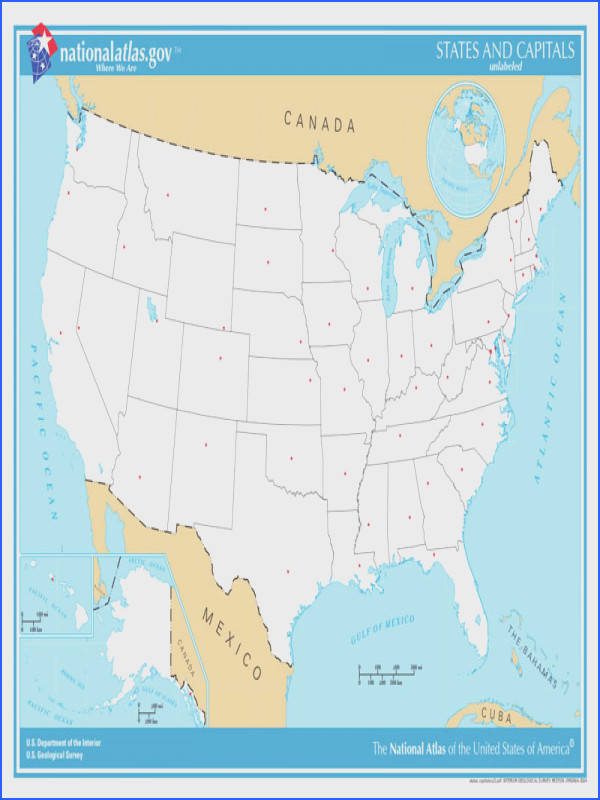 Unlabeled map of US so students can label states and capitals