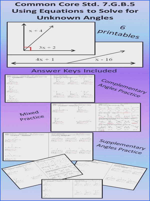 Using equations to solve for missing angle measure mon Core Standard 7