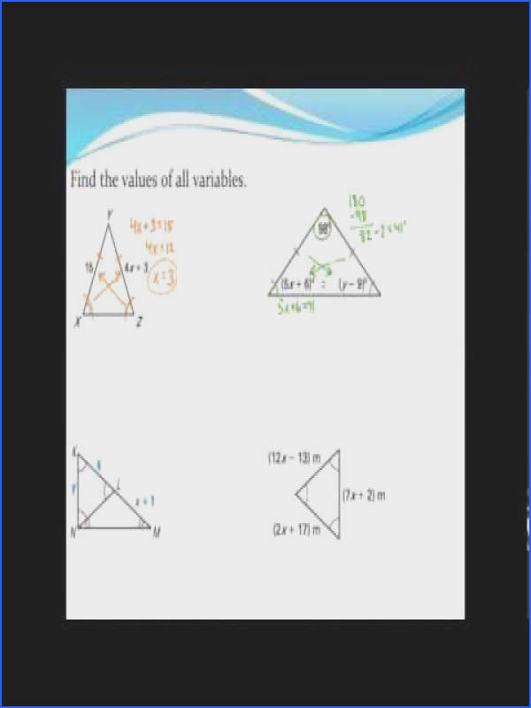 Using properties of isosceles and equilateral triangles to find missing variables