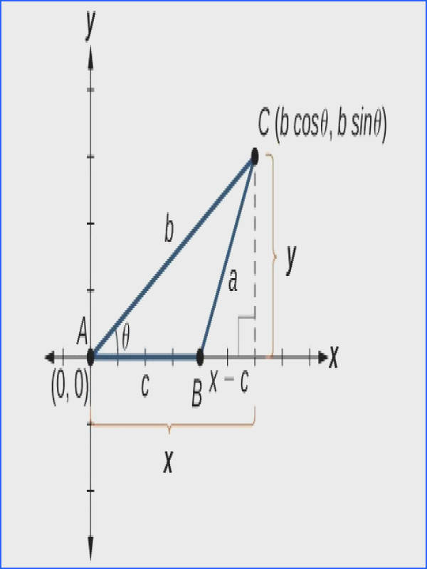 A triangle A B C plotted in quadrant 1 of the x y plane Angle A