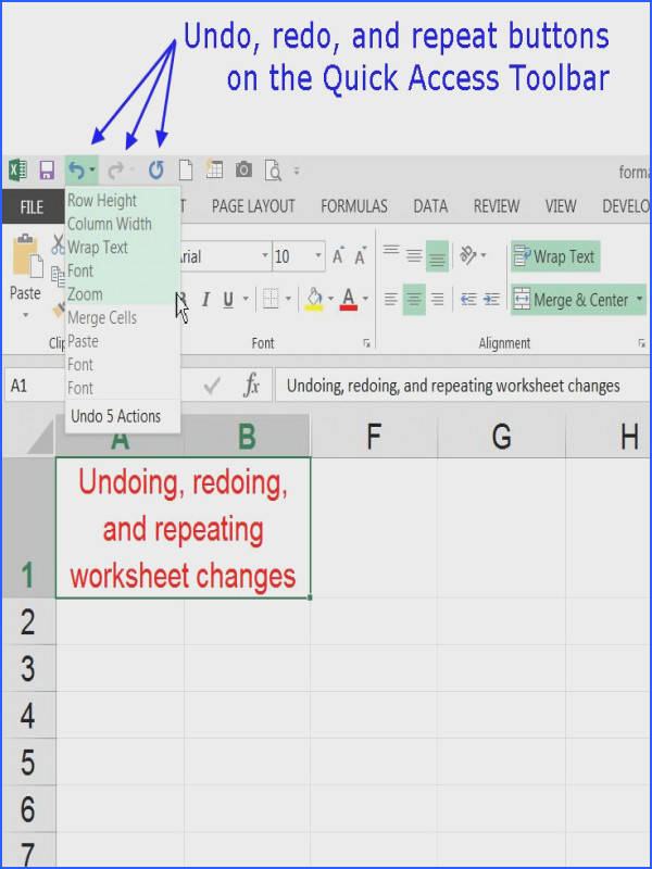 Keyboard Shortcuts for Undo Redo or Repeat in Excel
