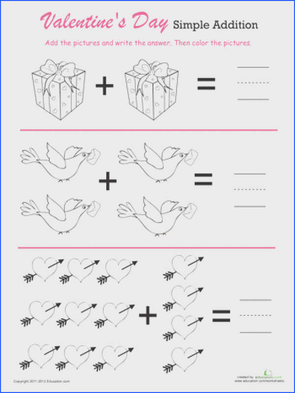 Worksheets Valentine s Day Simple Addition