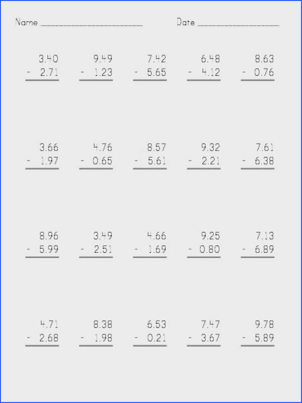 Vertical Decimal Subtraction Subtract up to 9 99 A Math Worksheet freemath Household stuff Pinterest
