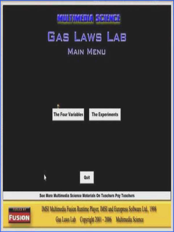 VIDEO Chemistry Gas Laws Lab Software and Lab Handouts