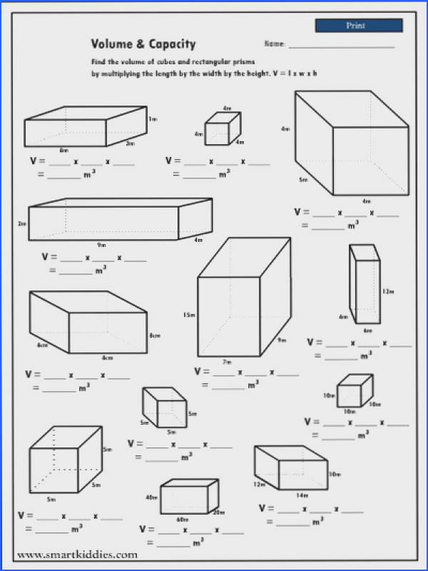 Volume And Capacity Worksheets Worksheets for all Download and Worksheets
