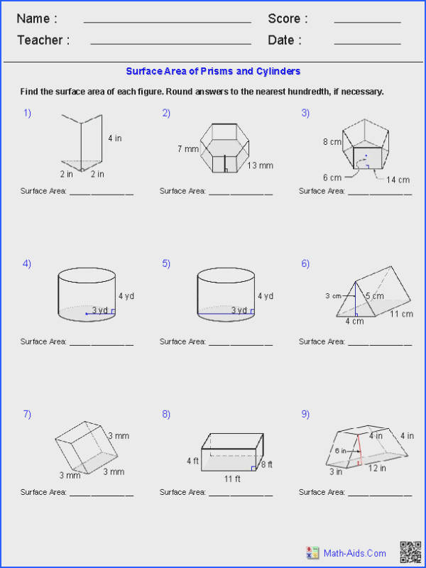 Prisms and Cylinders Surface Area Worksheets