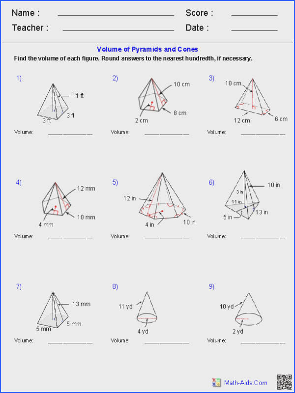 Pyramids and Cones Volume Worksheets