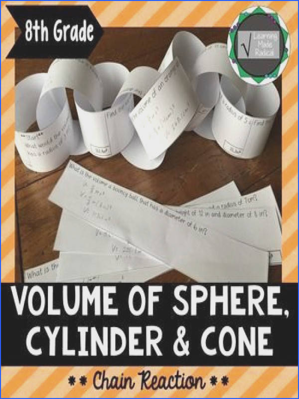 Volume of Cylinder Cone and Sphere Real World Problems Chain Reaction Activity