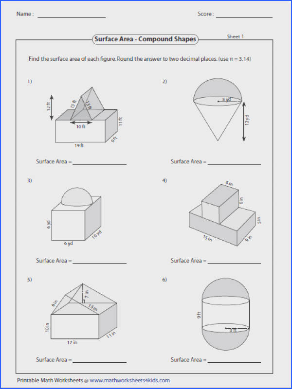 Surface Area pound Shapes Geometry Worksheets