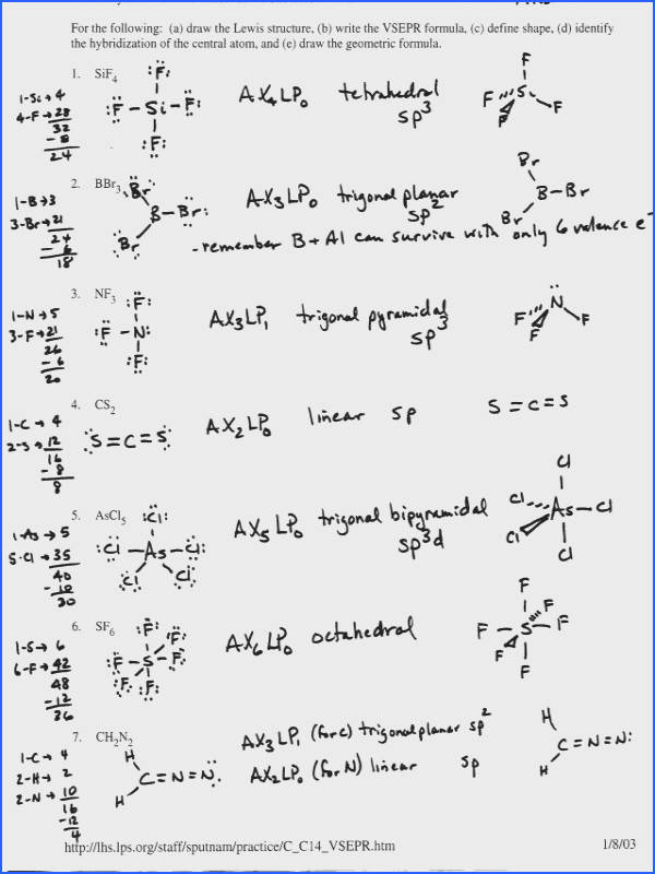 Lewis Structure And Molecular Geometry Worksheet Answers Ourclipart