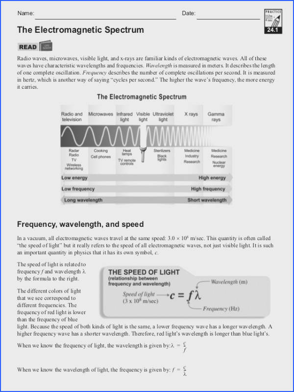 Waves And Electromagnetic Spectrum Worksheet Worksheets for all Download and Worksheets