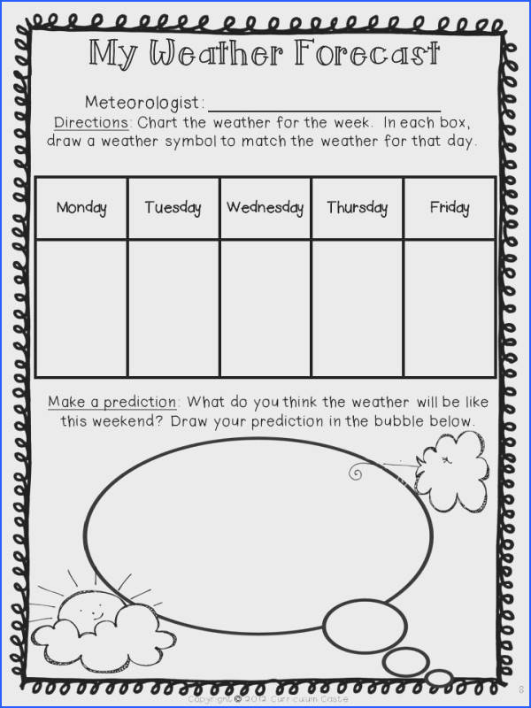 Weather Forecast have students chart the weather for the week and predict the weekend