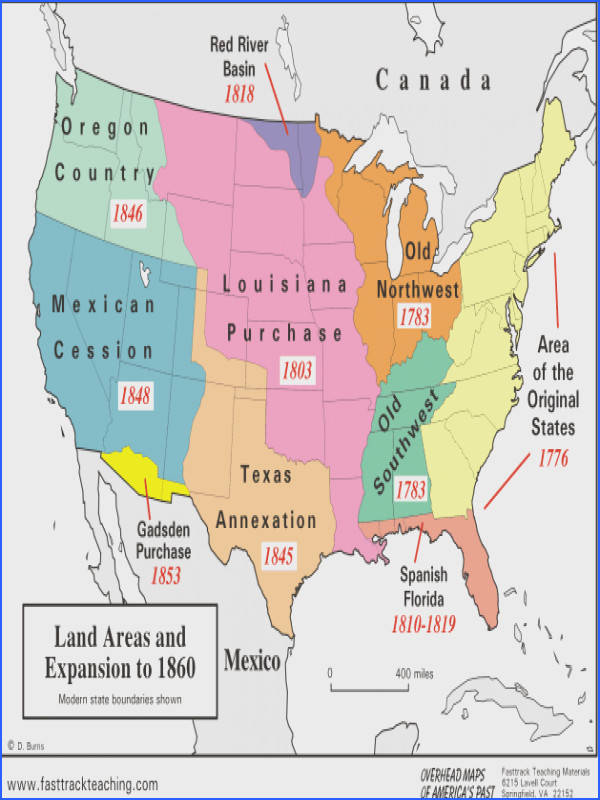Westward Expansion Map of the U S a