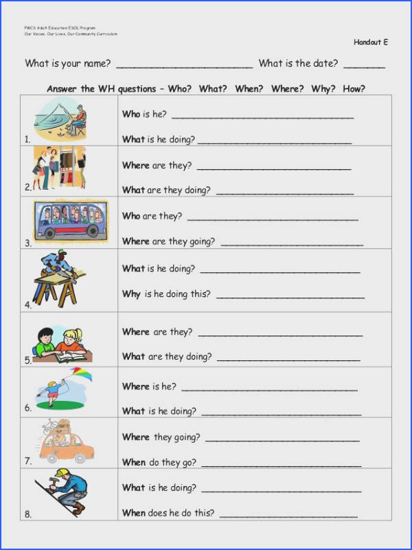 wh questions worksheets Google Search