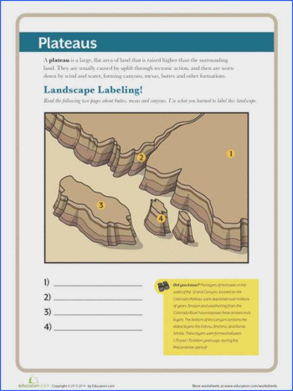 Third Grade Geography Earth & Space Science Worksheets What is a Plateau