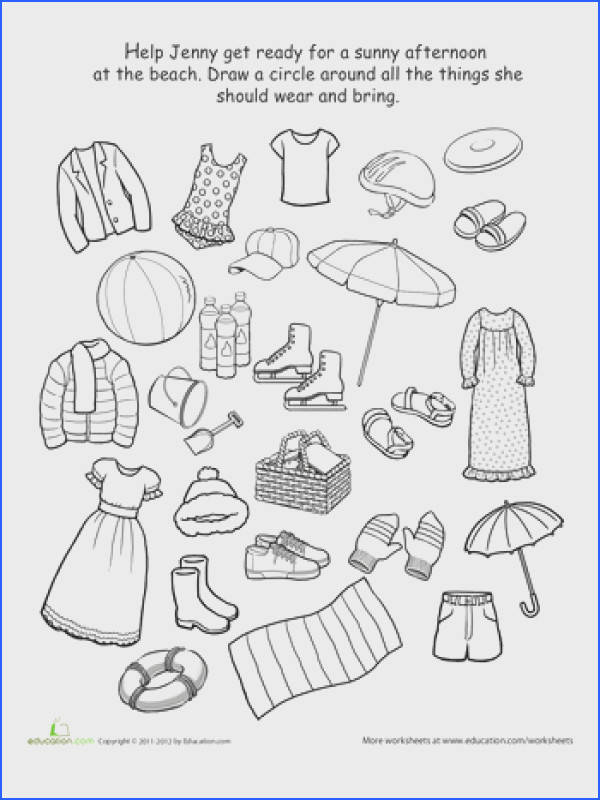 What to Wear to the Beach Preschool Worksheets FreeWeather WorksheetsScience