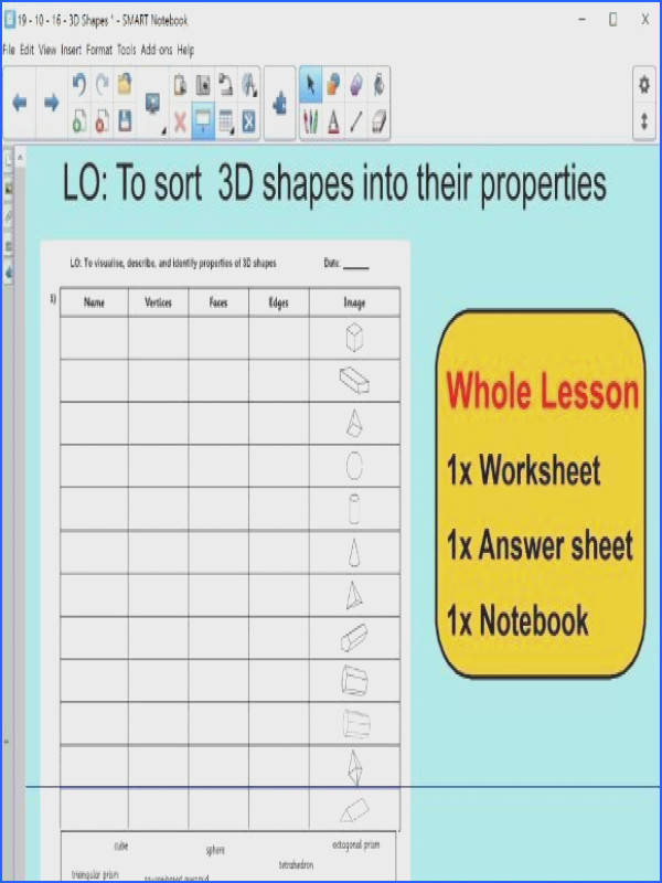 Whole Lesson 3D shapes Features properties sorting applying problems KS2