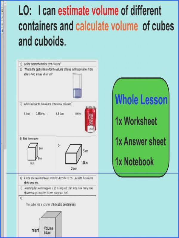 Whole Lesson estimate volume calculate volume applying problems KS2 Year 5 6