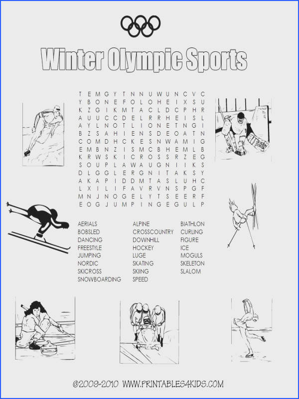 Winter Olympic sports printable word search Printables for Kids – free word search puzzles