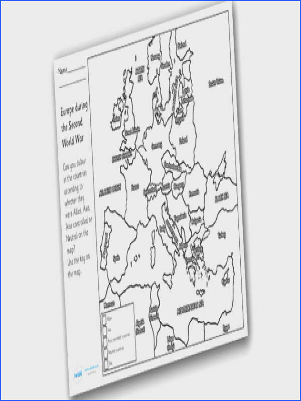 Word War Two Colouring Map world war two world war II world war 2 worksheet world war 2 colouring worksheet world war 2 allies axis or neautral