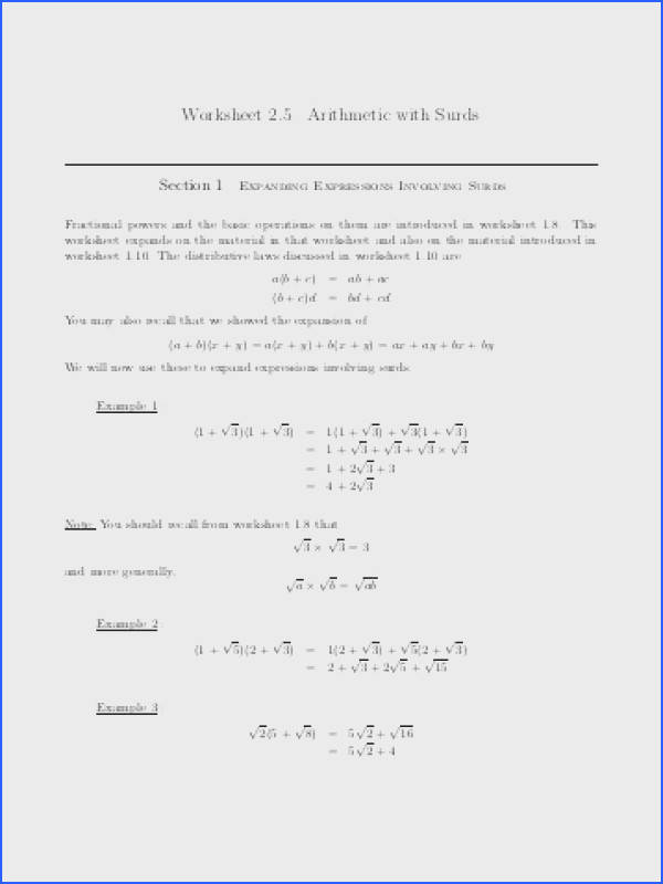 Worksheet 2 5 Arithmetic with Surds
