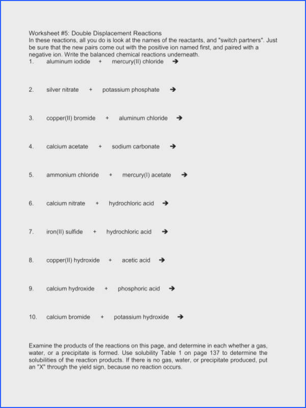 single and double replacement reactions worksheet answers double displacement worksheet guillermotull free