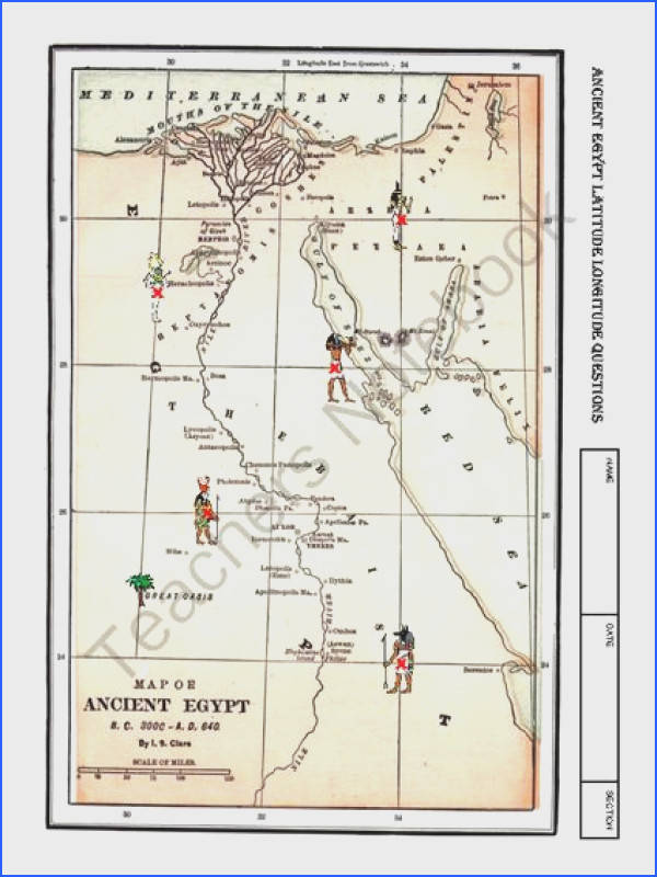 Worksheet ANCIENT EGYPT Latitude Longitude Questions&Map from Mrs Mc s Shop on TeachersNotebook